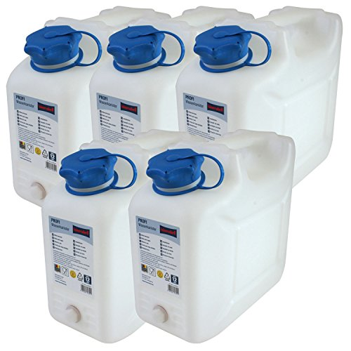 5x Wasserkanister PROFI 10 Liter mit Hahn 5er Set Kanister Camping Wassertank NEU