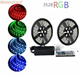 Sunface 10M(2x5M) LED Strip Flexible Light Pipe Waterproof 600 LEDs SMD 3528 RGB Color Changing LED Strip light + 44 Key IR Remote Control Set + DC 12V5A Power Supply UK for Car Styling,Bars, Restaurants,Gardens,Homes Office,Aircraft Cabin, DIY Party Decoration Ribborn, Christmas Party, Chrismas Tree, Festivals, Birthday