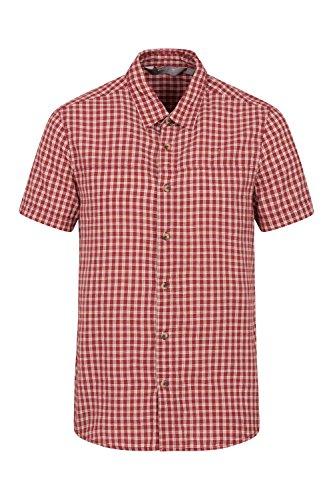 Mountain warehouse camicia a maniche corte da uomo weekender - camicia estiva 100% cotone, camicia casual leggera, traspirante, comoda - da passeggio, campeggio, viaggio rosso m