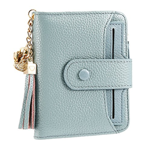Damen Geldbörse, JOSEKO PU Leder Geldbeutel Brieftasche mit RFID Schutz Portmonee Portemonnaie Geldtasche mit Druckknopf und Reißverschluss für Frauen Blau - Pink-münzen-geldbeutel-schlüsselanhänger