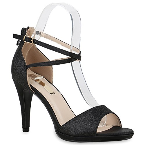 Elegante Damen Sandaletten | High Heels Sation-Optik | Glitzer Metallic Brautschuhe | Party Schuhe Animal Print | Plateauschuhe Schleifen Muster | Abschlussball Schwarz Glitzer