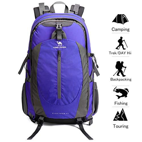 CAMEL CROWN Wandern Rucksack Leichte Reise Packable Durable Wasserdichte Sport Daypack für Camping Angeln Reise Radfahren Skifahren GRÜN 40L