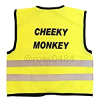 """Kids Hi Viz Safety Vest High Visibility Top Hi Vis Baby Waistcoat Childrens Gift (Cheeky Monkey, Small (approx chest 20""""))"""