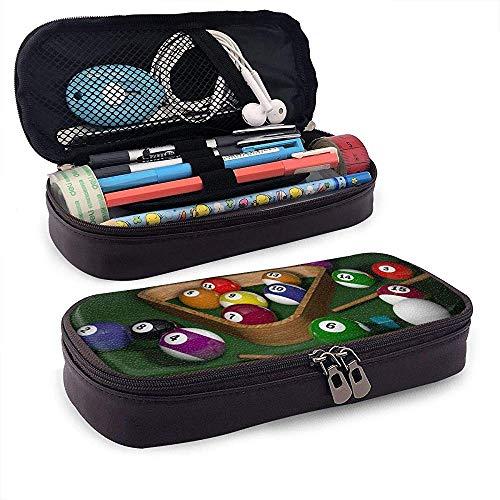 Billard Federmäppchen Big Capacity Storage Leder Tasche Inhaber Bleistift Schreibwaren Veranstalter Bleistift Tasche mit Reißverschluss