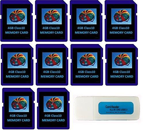 4GB SDHC Klasse 10Alles, aber er Stromboli 10SD Stil Flash Speicherkarte Wholesale Bulk Viel für Digital, Trail, Canon, Nikon DSLR, Spiel Kamera mit Alles, aber Stromboli (TM) Combo Kartenleser