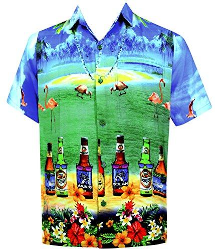 La Leela Strand Hawaiihemd Herren XS - 5XL Kurzarm Front-Tasche Hawaii-Print Casual Button Down Hemd Blue XS DRT049 (Bekleidung Hawaii Blue)