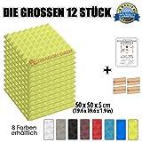 Super Dash (12 Pack) von 50 X 50 X 5 cm Gelb Pyramide Akustikschaumstoff Noppenschaumstoff Akustik Dämmmatte Schallisolierung Schaumstoff Polster Fliesen SD1034 (GELB)