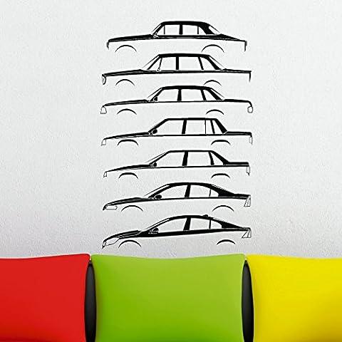 Auto Geschichte Silhouette Wandtattoo–basiert auf Volvo Amazon, 140, 240, 740, S70, S60Limousine