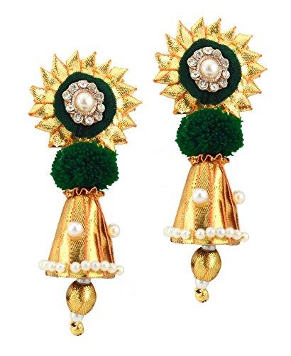 BLENT#63 Dark Green Velvet Gota Patti Flower Jewellery Earrings for Women/Kids/Girls/Bride/Bridal/Wedding/Haldi/Mehandi (Handmade...