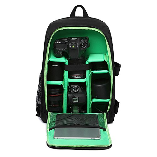 Selighting Rucksack Wasserdichter Kamerarucksack für DSLR-Kamera-Zubehör und Spiegelreflexkameras Leichte und Langlebige Kameratasche Laptop-Tasche für Canon Nikon Sony (Grün)