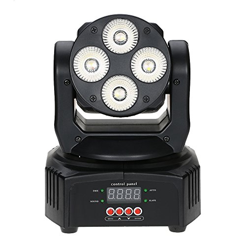 Docooler Mini Stadiums Licht Lampe, 4 LEDs 50W RGBW Wash Rotating Moving Head-Stadiums Licht, 9/12 Kanal DMX512 Musik Activeated f¨¹r Indoor-Disco KTV Club Party -