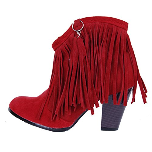 TAOFFEN Damen Retro Blockabsatz Kurze Stiefel Knoechel Stiefel Mit Quasten Rot