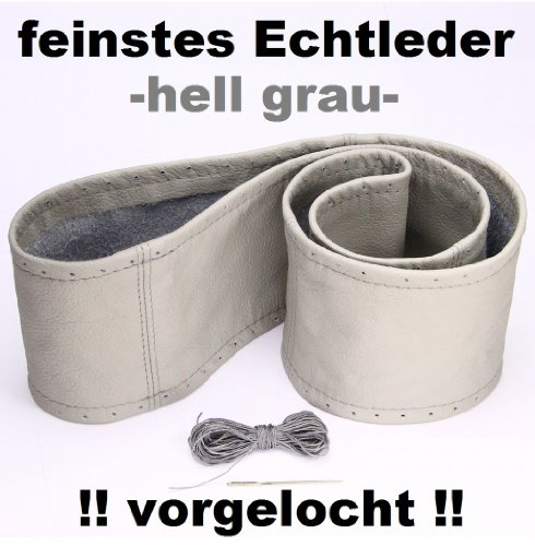 Lenkradbezug hell grau echt Leder 37-39 cm zum Schnüren Lenkrad Schoner