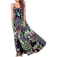 TAOtTAO Bohemian Womens Blumendruck Sling Langes Kleid ärmelloses Sommer Strandkleid preisvergleich bei billige-tabletten.eu