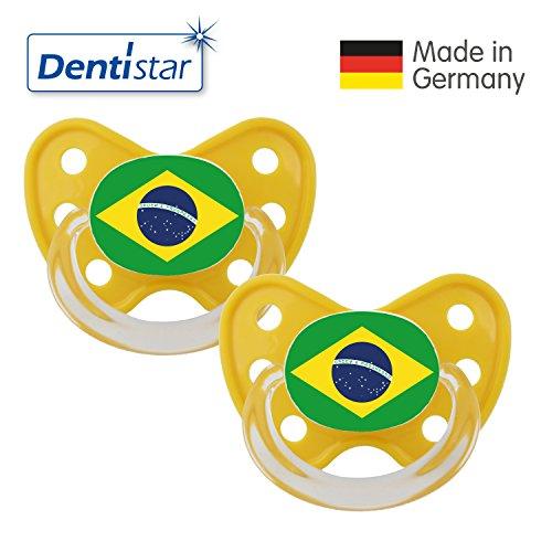 Preisvergleich Produktbild Dentistar® Silikon Schnuller 2er Set inkl. 2 Schutzkappen - Nuckel Größe 3, ab 14 Monate – Fahnen Fan Kollektion – Brasilien