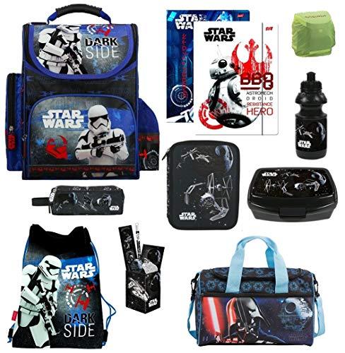 Familando Schulranzen-Set Star Wars 17-TLG. mit Federmappe Sporttasche und Regenschutz Ranzen - 3 Schulranzen