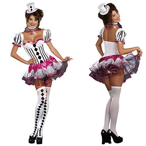 Simmia Halloween Kostüm,Halloween Kostüm Zirkus Performance Kleidung Clown Kostüm Rollenspiel Erwachsene Weibliche Magier Bühnenkostüm, 4017, M (Erwachsene Clown-kostüm Weibliche)