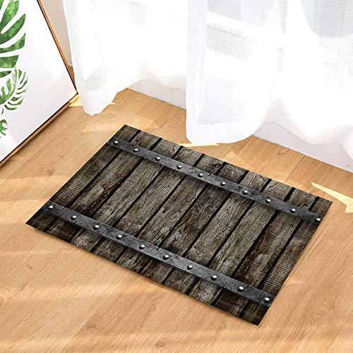 SHUHUI Retro Badteppiche Grau Alte Holzbrett Dekor Rutschfeste Fußmatte Indoor Teppiche 60X40 cm