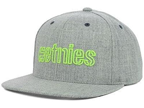 Etnies Corporate Outline Grey/Lime Flatbrim Snapback Hat Osfa