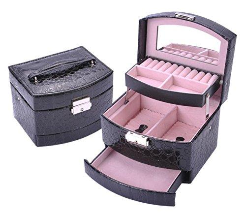 Cloud-Y Boîte à Bijoux Coffrets, Boîtes à Maquillage, Bijoux & Cosmétique Beauty Case pour Femme Fille Miroir(Taille:15.5x13x12.5cm) Cadeau (Noir) (Noir)