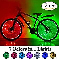 HOOMIL Reflectores de Ciclismo Impermeable LED Rueda de Bicicleta Ligera Tira (2 Rueda)