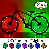 HOOMIL LED impermeabile Luci della ruota della bici 7 colori mutevoli Ultra luminoso colorato ruota della bicicletta Pneumatico raggio Striscia di luce per i più piccoli Bambini Adulti Ciclismo Riflettori Accessori per biciclette (2 pacchi)