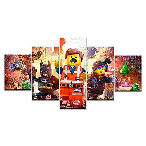ADDFLOWER 5 Stücke Lego Film Kinder Leinwand Poster Wandkunst Modularen Bilder Home Decor Wandbilder Für Wohnzimmer Öl Cuadros Decoracion, 40X60 40X80 40X100