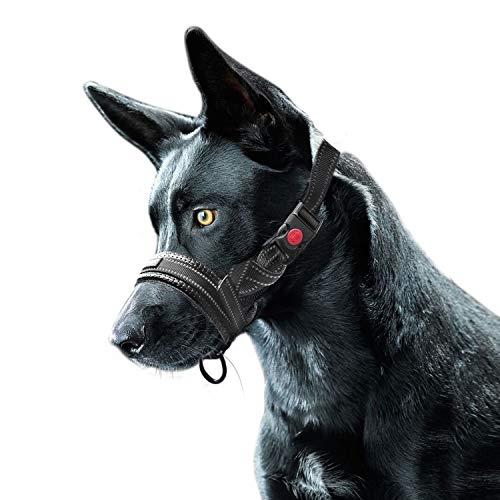 Bozal de Nylon para Perros, Ajustable Lazo Bloqueo de Seguridad Franja
