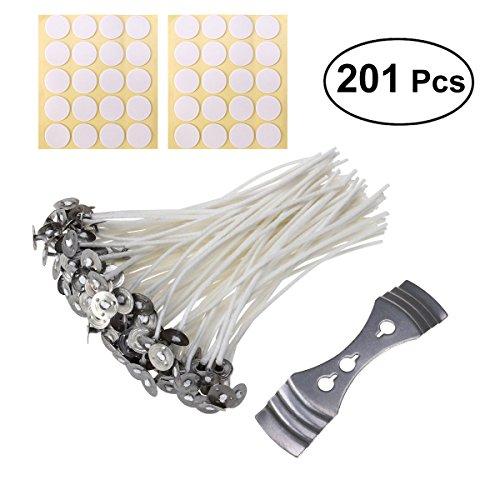 ULTNICE 100 Stücke Kerzendocht + 100 Stücke Aufkleber + 1 Stücke Kerzen Dochthalter für Kerzenherstellung