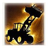 Schlummerlicht24 Nachtlicht Lampe'Radlader' mit Wunschname, ideales Geschenk für Baumaschinen-Fans, als Deko-Lampe zum Zimmer verschönern, handgemacht