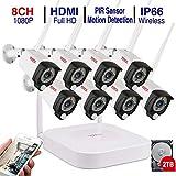 Audio+PIR Tonton Full HD 1080P Kit de Surveillance Audio sans Fil NVR avec 8 caméras de Surveillance IP Wi-FI Transmission de Son,extérieur résistant aux intempéries PIR détecteur de Mouvement 2To