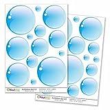 Kiwistar Seifenblasen, 28 Blasen, Bubbles Deko Gesamtgröße, Wandsticker Set Bogen Aufkleber farbig DIN A4 DIN A3Gesamtfläche: ca. 40x30cm