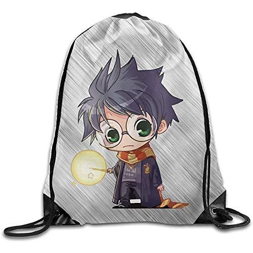 51Mxshr%2BvhL - BOUIA Cute Harry Potter Cartoon Sport Backpack Mochila con cordón de impresión 36X43CM