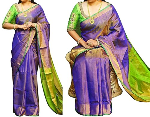 UPPADA Tissue Silk Saree with Blouse_Purple with Green Colour