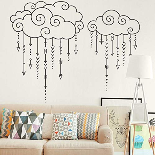 Dalxsh Geometric Wall Decal Swirly Clouds Raining Arrows Wall Sticker Nursery Bedroom Decor Modern Design Wall Decal Vinyl Art 57X45Cm -