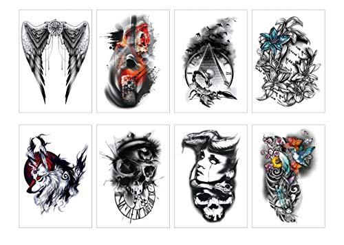Spestyle 8pcs / package Verschiedene Halloween Tattoo für Männer Frauen Cute Designs Stick on Adult Tattoos Engel/Schädel/Fisch/Spinne/Teufel/Blume/Wolf