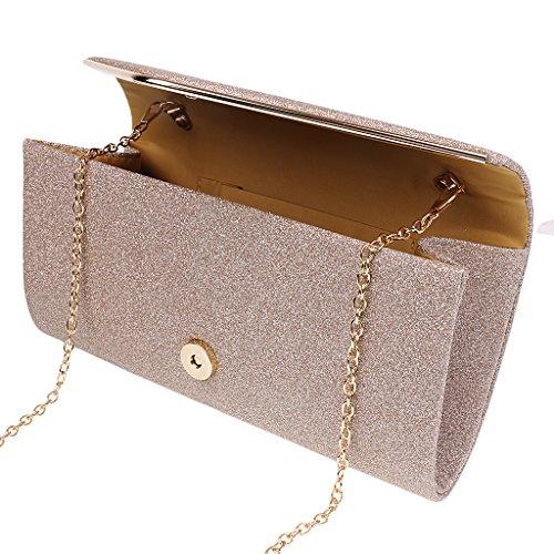 493e7e31dffe2 ... Gazechimp Frauen Pailletten Abend Umschlag Clutch Bag Glitzer Clutch  Geldbörse Kette Schulter Tasche - Gold Gold ...