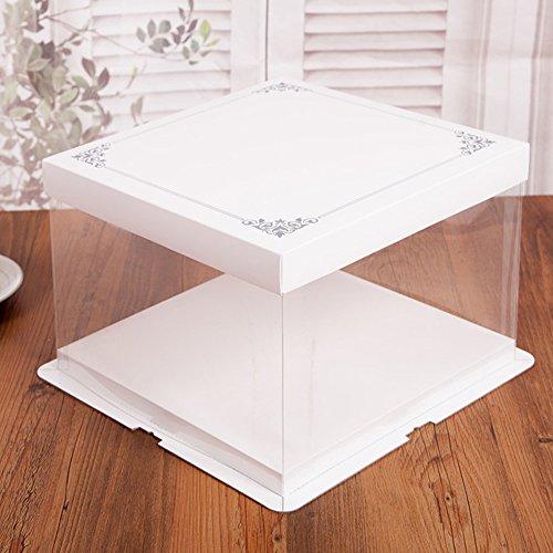 quadratisch Display Kuchen Boxen Carrier Verpackung Container mit Deckel Geschenkbox 17,8cm, 18*18*16cm (Halloween-cupcake-boxen)