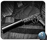 Schalldämpfer-Gewehr-Muster-Mausunterlage, Gedruckter Rutschfester Gummi-Bequeme kundengebundene Computer-Mausunterlage Mausunterlage Mousepad