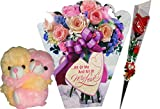 Hug Day Gifts - Greeting Card, Soft Teddy,Artificial Flower title=