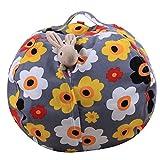 LY-LD Kid es Stuffed Storage Bean Bag Chair mit Extra Long Zipper, Carrying Handle, 100% Sturdy Leinwand-für gefüllte Spielzeuge/Kleidung/Quilts Lagerung,C,38inch