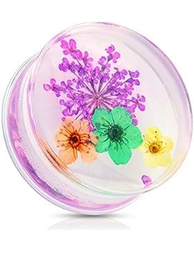 Paula & Fritz® Plug Saddle Fit aus Kunststoff getrocknete Blume violett, orange, blau, gelb 12-25mm PAT02