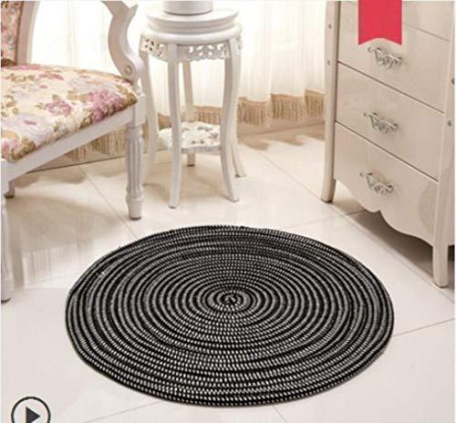 KKRIIS gewebte runde Teppiche für Wohnzimmer Schlafzimmer handgefertigten Teppich Arbeitszimmer Tatami Teppich Haushalt Yoga Matte Home Decoration, A7,40 Durchmesser -