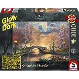 Schmidt Spiele Puzzle 59496Thomas Kinkade, Central Park en otoño, Glow in The Dark, Puzzle de 1000Piezas