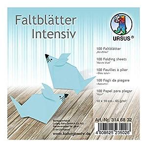 Ursus 3146832 - Hojas Plegables (100 Unidades, 65 g/m², 10 x 10 cm, para Artistas de Origami Grandes y pequeños, teñidas), Color Azul