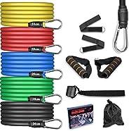 AGM Set di Fasce di Resistenza,5 Bande Elastiche in Lattice con Maniglie,Resistenza a 100 LB Elastici Fitness,