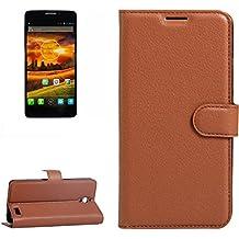 Para Alcatel One Touch Idol X / 6032 / OT-6032 Patrón de textura Litchi horizontal Flip PU funda de cuero con el titular y ranuras para tarjetas y cartera by diebelleu ( Color : Brown )