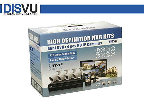4 ch 1080p HD NVR & IP camera kit : DISVU IPK-104 high resolution NVR kit
