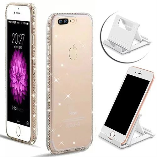 Vandot Étui pour iPhone 7 Plus Souple TPU Coque iPhone 7 Plus 5.5 Pouces Housse Case Perfect Fit Luxe Glitter Diamant Bumper Silicone transparent Bling étoile Brillante de Protection Shell Hull + anti Diamant-Blanc