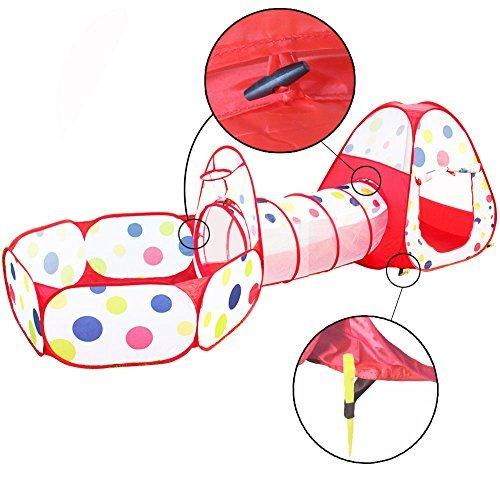 Travel Dream Faltbare Kinder Pop Up Spielen Zelt mit Tunnel und Ball Pit mit Reißverschluss Aufbewahrungstasche für Kinder Indoor Outdoor Playhouse Kinder spielen Gaming Toys (Hund Ball Pit)